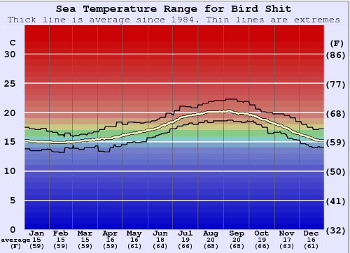 Bird Shit Water Temperature Graph
