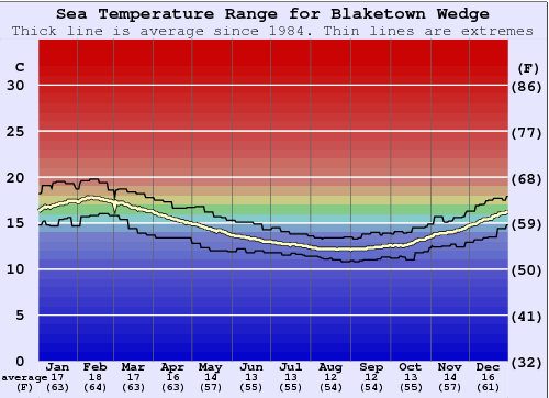 Blaketown Wedge Water Temperature Graph
