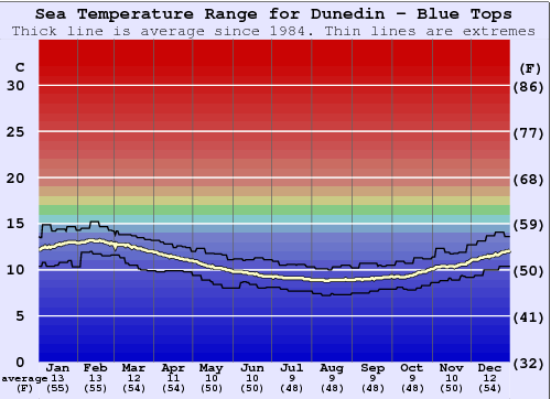 Dunedin - Blue Tops Water Temperature Graph