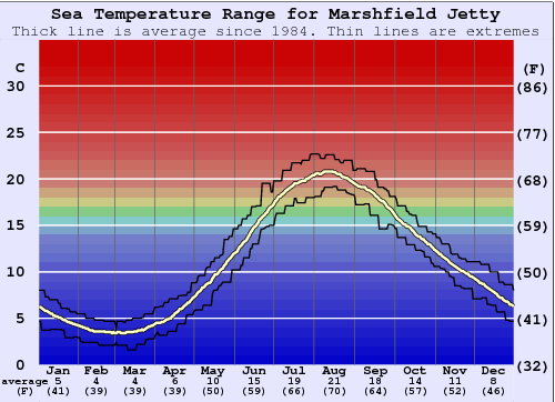 Marshfield Jetty Water Temperature Graph
