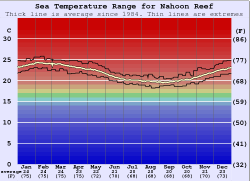 Nahoon Reef Water Temperature Graph