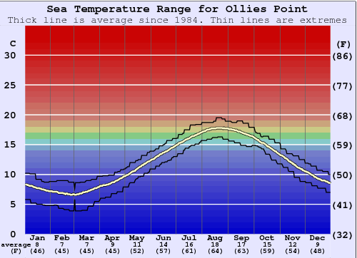 Ollies Point Water Temperature Graph