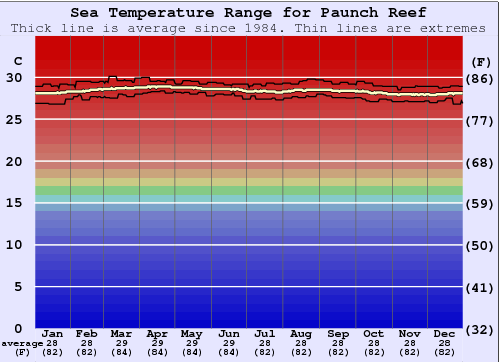 Paunch Reef Water Temperature Graph