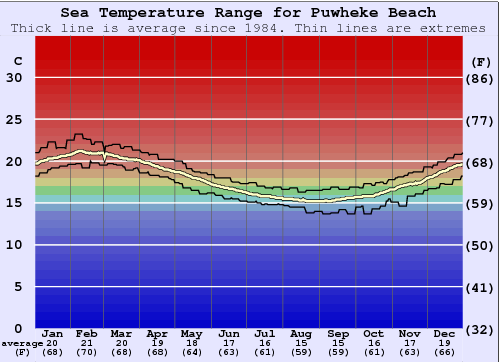 Puwheke Beach Water Temperature Graph