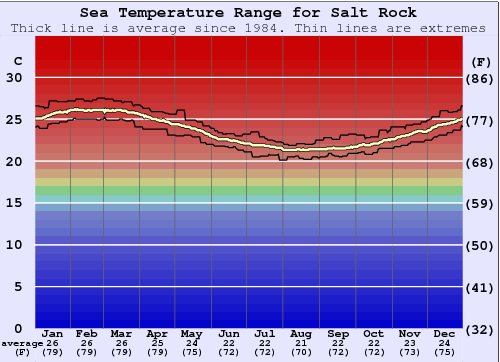 Salt Rock Water Temperature Graph