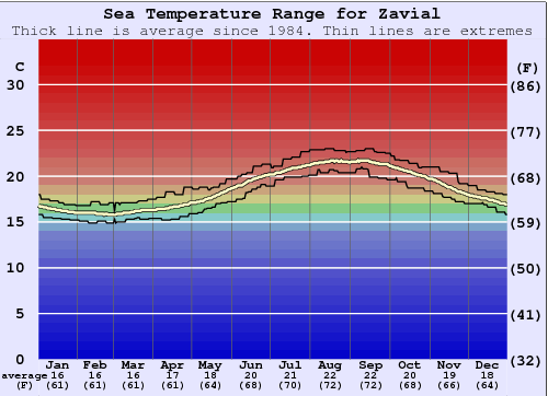 Zavial Water Temperature Graph