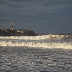 Lone Surfer's only wave, Anglet - La Barre