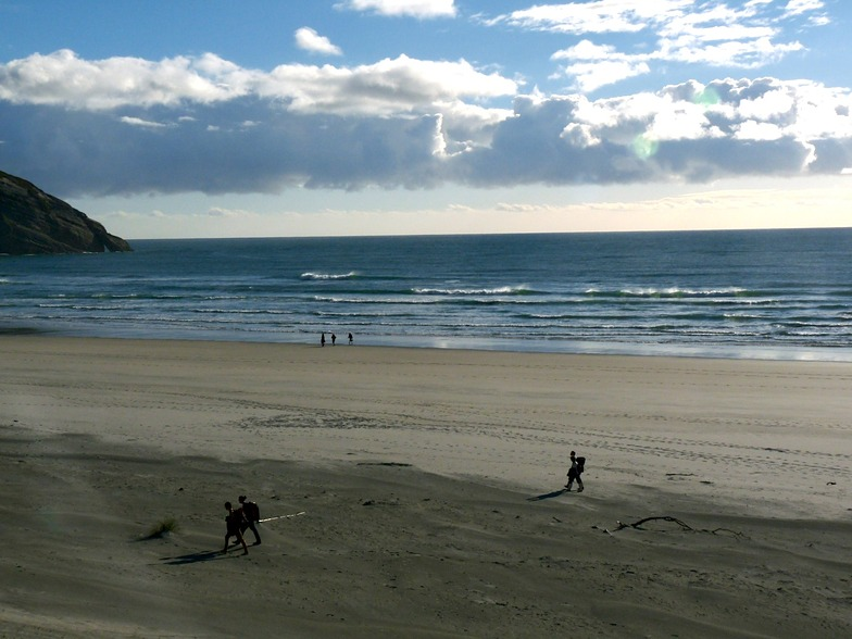 Small swell autumn afternoon, Wharariki Beach