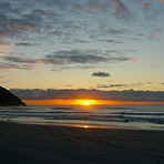 Sunset at Wharariki, Wharariki Beach