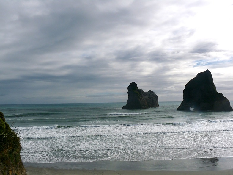 Wharariki Beach after high tide