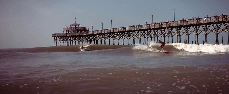 Nice Hurricane Arthur Waves at the CG Pier, Cherry Grove Pier