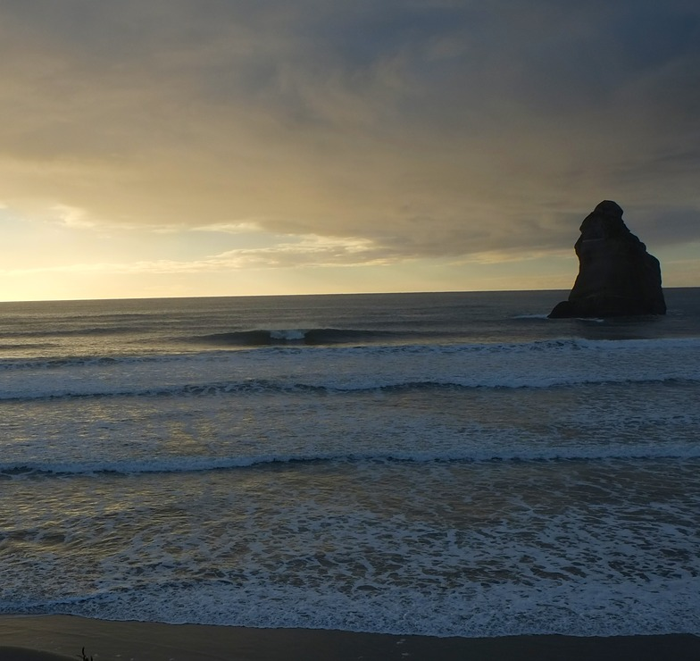 Evening Surf at Wharariki, Wharariki Beach