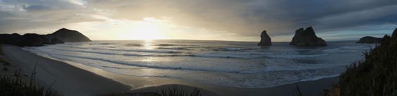 Wharariki panorama, Wharariki Beach