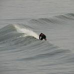Lee on an early morning solo, Aberwystwyth Beach
