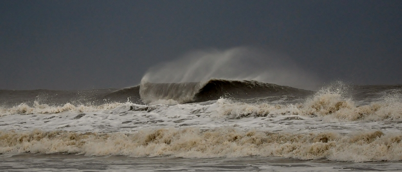 Effects of Hurricane Irene 75 miles away, Isle of Palms Pier