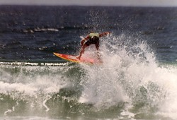 Mark Bell surfing M.R.'s board, Catherine Hill Bay photo