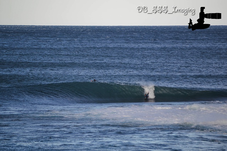 Josh Kaihe slides into Crisp Slab, Shark Island (Cronulla)