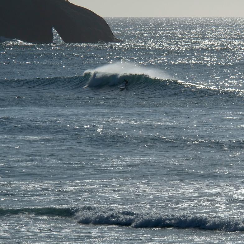 SUP at Wharariki - Cyclone Pam swell, Wharariki Beach