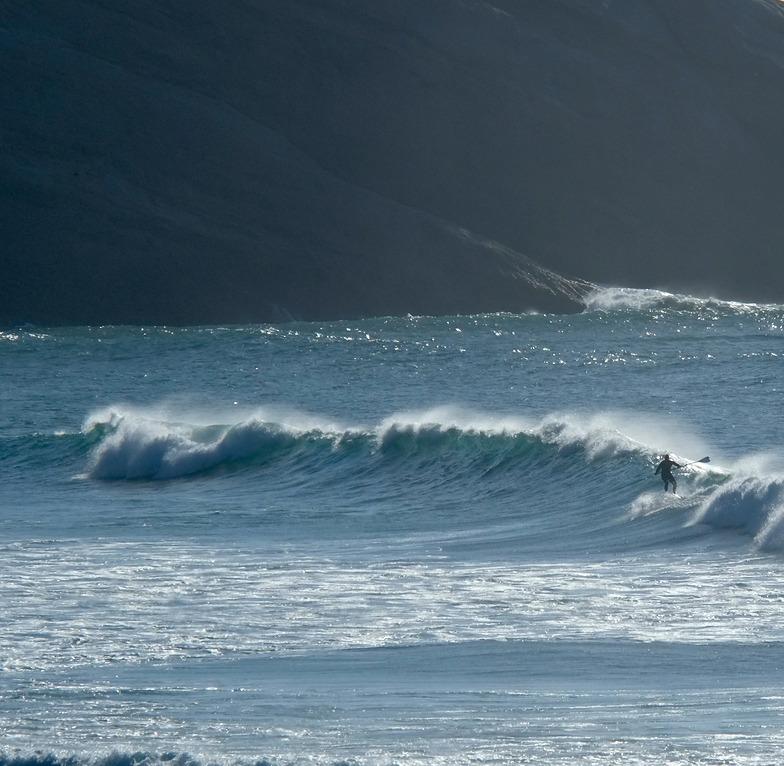 Cyclone Pam swell - SUP at Wharariki, Wharariki Beach