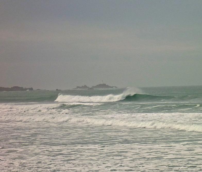 Big swell, Corbiere in background, St Ouen's Bay - Secrets