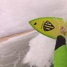 "M.R. Quad 5'10"" surfer Mark Bell, Blacksmiths Beach"