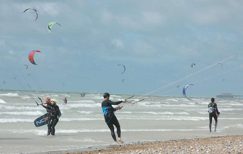 Kite surfing at South Lancing Beach