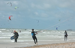 Kite surfing at South Lancing Beach photo