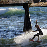 Girl grom, San Clemente Pier