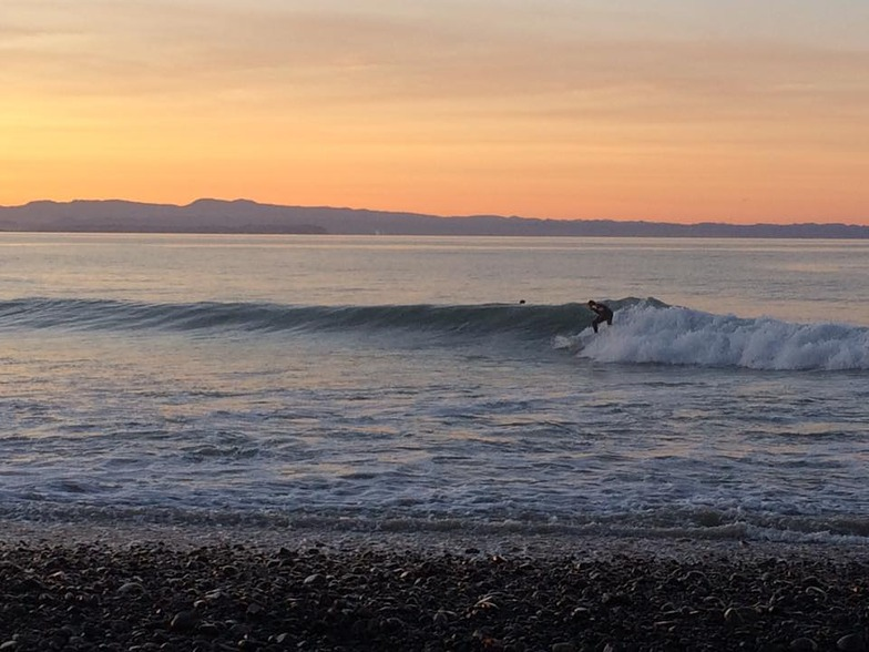 Winter sunset surfing., Te Awanga