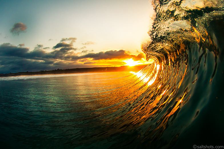 sunset from the waves