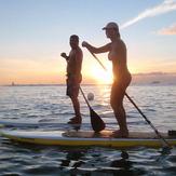 Evening paddle, Canoes