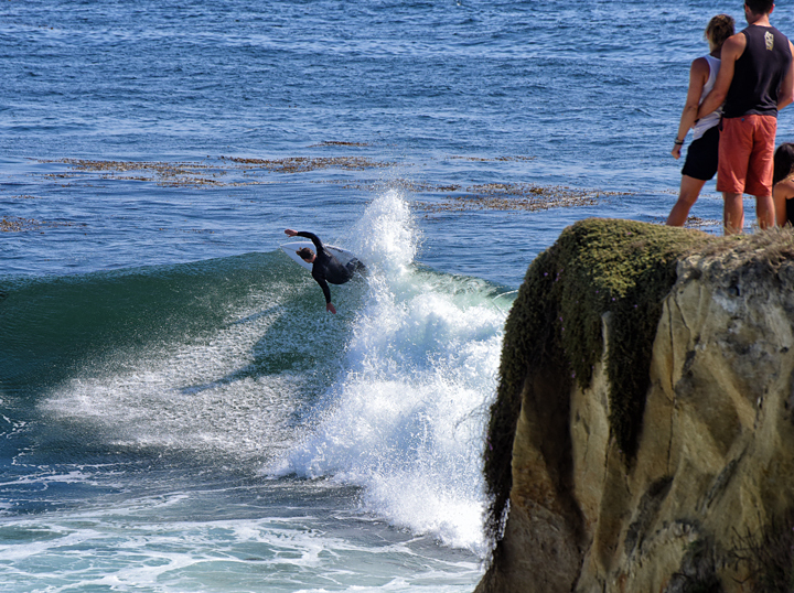 Andrew surfs the Slot, Steamer Lane-The Slot