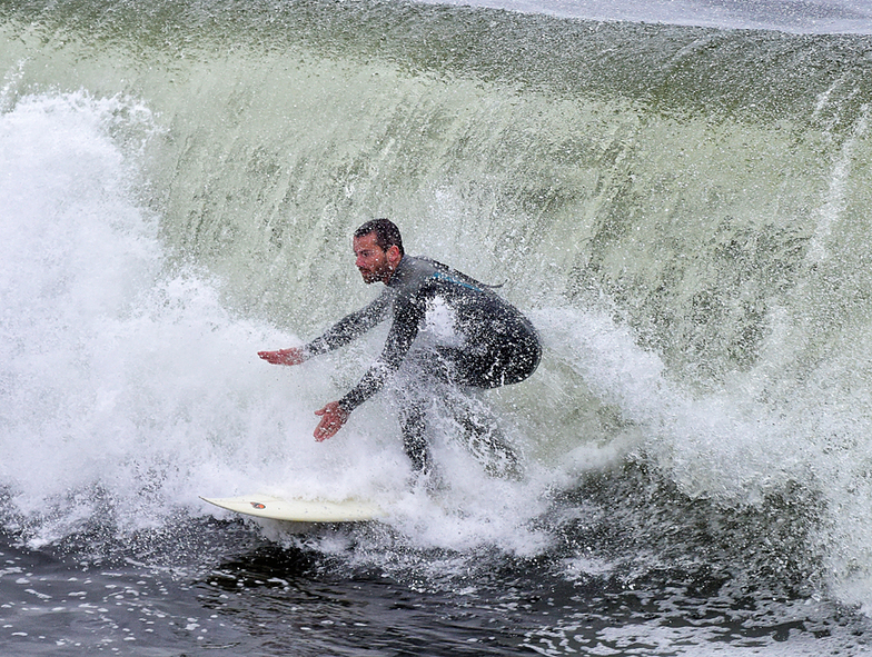 Getting wet at the Slot, Steamer Lane-The Slot