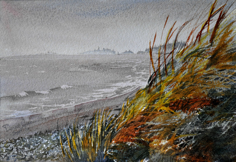 Grass Fire - Watercolour painting of Cherry Hill Beach
