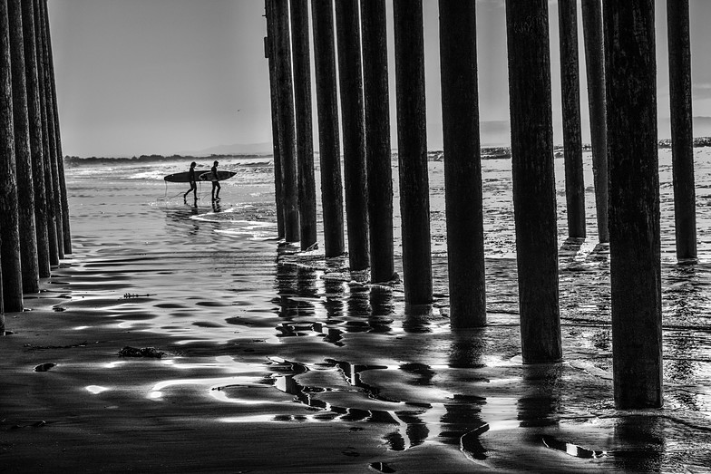 surfers, Pismo Beach Pier