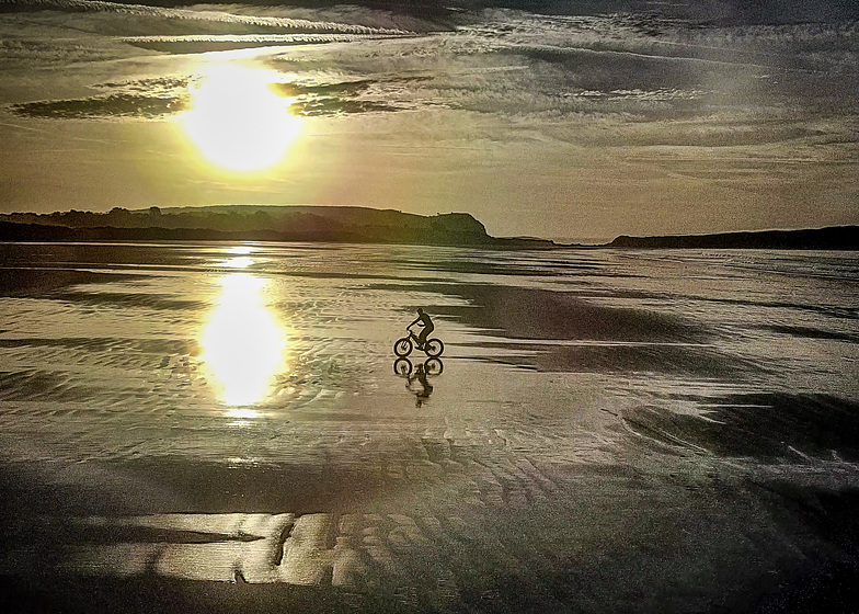 Mountain Biker on Plage L'Aber