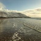 Snowy beach at Caswell Bay