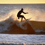 """Winter Sunrise Silhouette Surfer"", Garden City Pier"