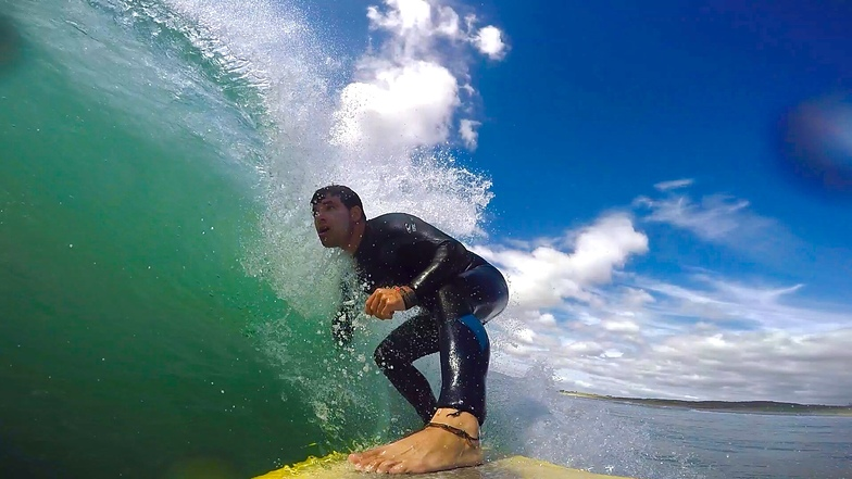 Light offshore wind and heaps of fun, Papamoa Beach Park
