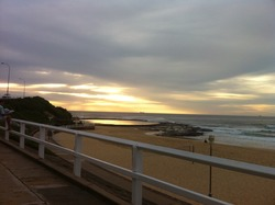 Golden Christmas Dawn Patrol, Newcastle Beach photo