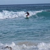Surfing my foamie at Warwick Long Bay, Bouncer Beach