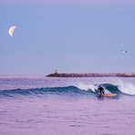 Surfing Under a Lunar Eclipse, Oceanside Harbor