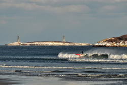 Winter Paddle Surfer at Good Harbor Beach photo