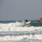 Calla on new board, Alkantstrand