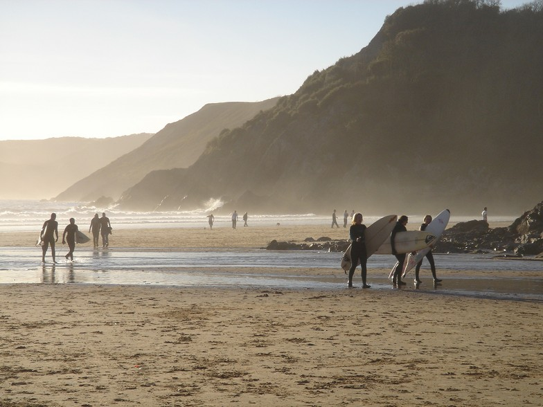 Surfing at Caswell Bay, Gower