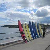 Lining up the surf boards, Cullen