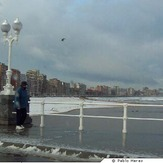 Snow in Playa de San Lorenzo, Gijn ( Asturias )