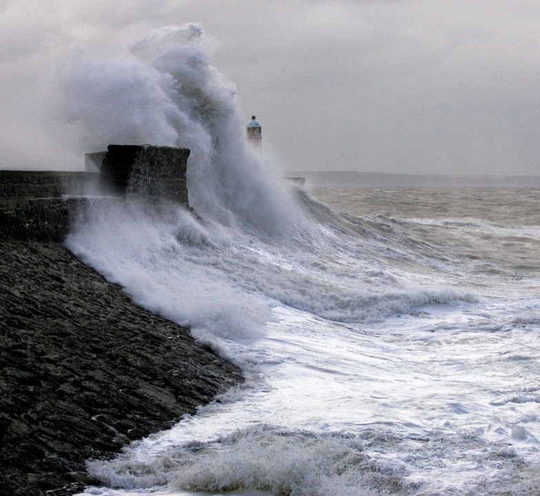 Storm at Porthcawl Harbour, Trecco Bay