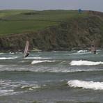 Windsurfers and kite surfer - Bigbury, Devon, Bigbury Bay