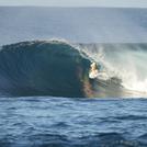 DANIEL MAWKES GETS A HEAD DIP, Aganoa Beach
